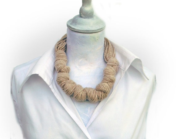 Neutral pure wool knotted necklace, winter yarn jewelry beige, wood button, neckpiece, office fashion