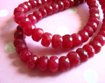 RUBY Rondelles Beads, Luxe AAA, 3-4 mm, True Red, Faceted, July birthstone brides bridal holiday tr 34