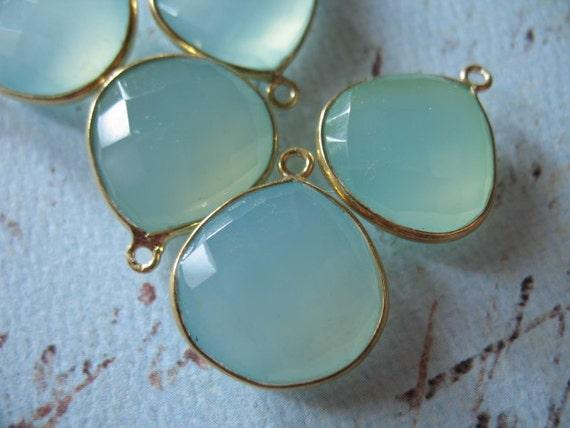 5% Off Shop Sale... CHALCEDONY Gemstone Connectors Pendants - Bezel Set, 24k Gold Vermeil, Luxe AAA, 2 pcs, 20x16.5 mm, Aqua Blue vp26