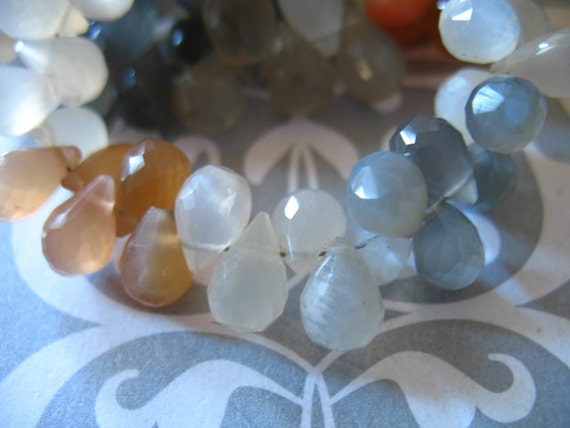 Shop Sale ... MOONSTONE Teardrop Briolettes, Luxe AAA, White Peach Gray, 6 pcs, 9.5-11 mm, june birthstone brides bridal