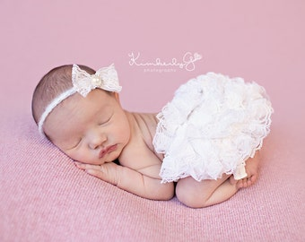 Baby Girl Photography Props, Ivory Lace Diaper Cover Newborn Baby Props with Matching Lace Headband - Newborn Props, Bloomers, Girl Props