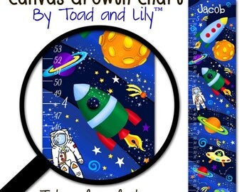 Canvas GROWTH CHART Outerspace Rocket Ship Boys Bedroom Kids Baby Nursery Wall Art Personalized Kids Growth Chart Height Chart GC0167