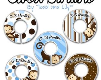CLOSET DIVIDERS Blue Pop Monkey Kids Bedroom Baby Nursery Art Decor CD0033