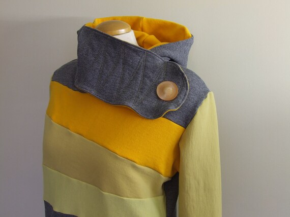 LEMONGRASS - Hoodie Sweatshirt Sweater - Recycled Upcycled - One of a Kind Women - LARGE