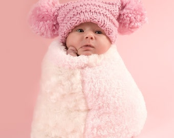 Baby Hat Pattern -- Knit Pom-Pom Perfection Hat -- Instant Download -- Permission Granted to Sell