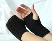 Fingerless Knit Gloves Black, Wrist Warmers