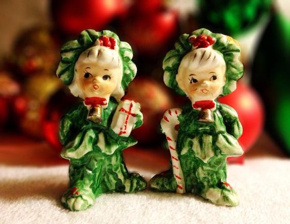 Vintage Christmas NapcoTree Candy Cane Kids Salt & Pepper Shakers Lefton Holt Howard Green Holiday Xmas Holiday