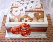 Wedding Guest Book Box - READY-to-SHIP - Orange, Gray and Ivory, Shabby Chic Box