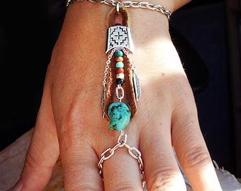 Bohemian Southwestern Bracelet Boho Hippie Stone Tribal Silver Turquoise Native American Inspired