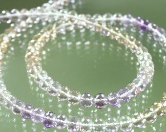 AAA Ametrine Micro-Faceted Rondelle Beads 6mm