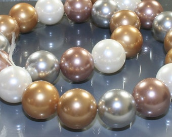 15 inch Strand Multi-Color Large Round Shell Pearls 16mm Gold Silver White