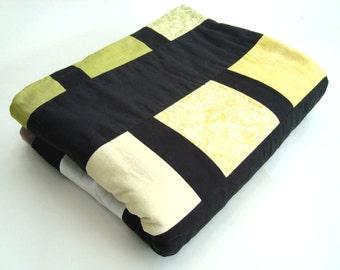 Moda origins patchwork quilt throw Black Green Yellow Brown
