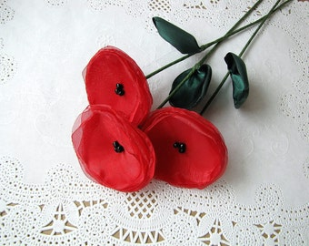 Handmade flowers with stems- set of 3 pcs- RED POPPIES (as seen in BRIDES magazine)