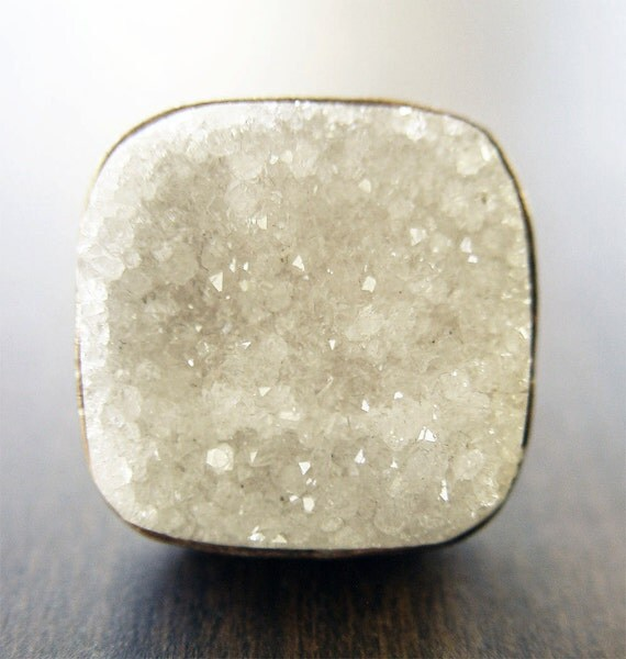 Large Vanilla Druzy Ring - Square Geometric - Silver Statement Ring