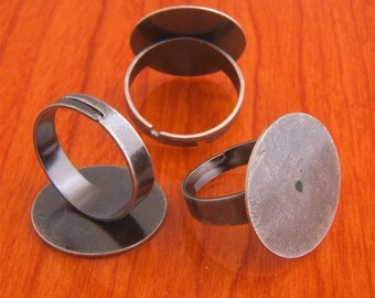 Big size 200pcs 20mm Pad brass base free nickel Adjustable antique silver tone RING Base Blank widen Findings