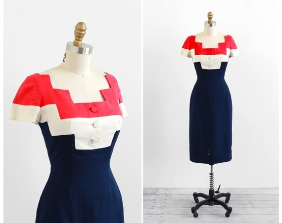 vintage 1960s dress / 60s dress / Red, White, and Blue Ultra Mod Wiggle Dress