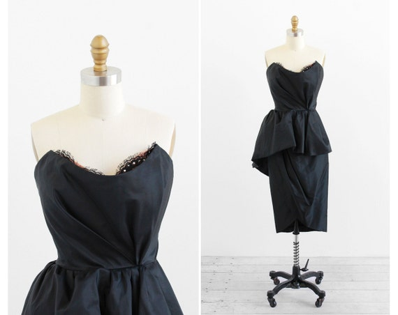 vintage 1980s dress / 1950s cocktail dress / Bob Mackie Designer Couture Dress with Chantilly Lace and Rhinestones