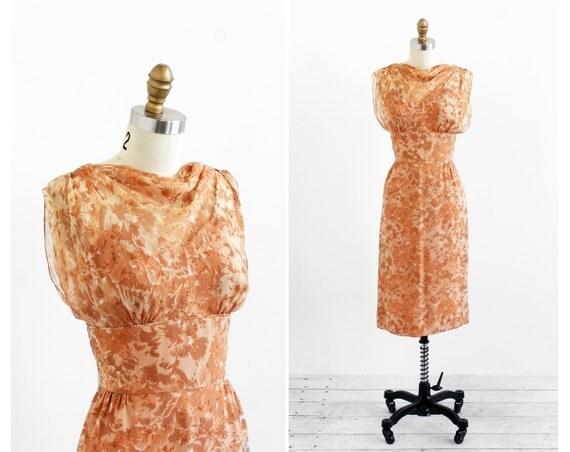 vintage 1950s dress / 1960s dress / Nude Floral Silk Chiffon Cocktail Dress