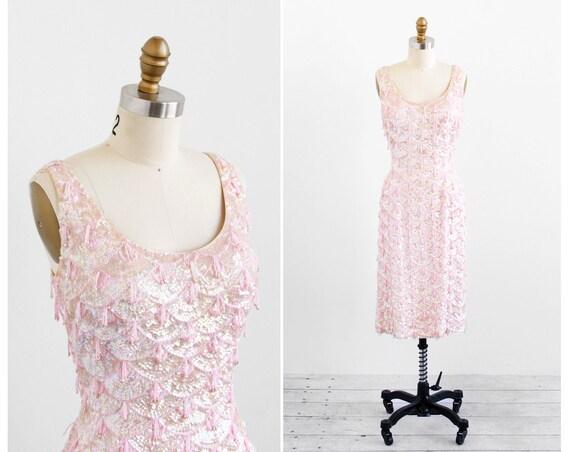 vintage 1950s dress / 50s dress / Pink Sequins and Beaded Fringe Wiggle Dress