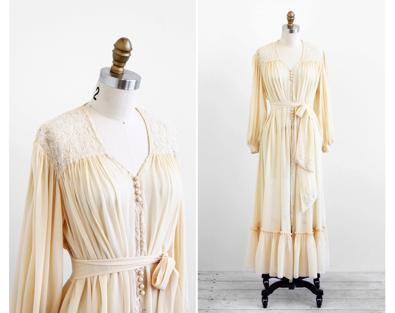 Vintage 1930s Wedding Dress / 30s Wedding Dress / Cream Silk