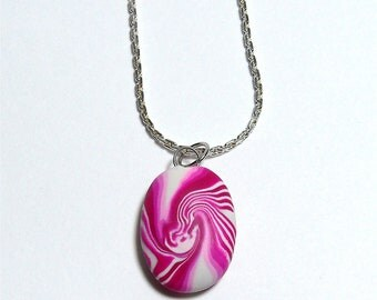Handmade polymer clay Oval pendant on a silver chain