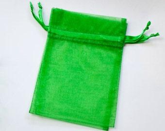 10 Organza Bags 6x9 inch Emerald Green