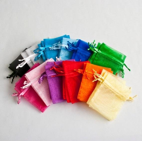 48 Organza Bags, 5x8 inch, multi color rainbow, 4 of 12 colors
