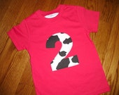 Toddler Boys 2nd Second birthday barnyard farm red Cow print 2 shirt  2T 3T 4T
