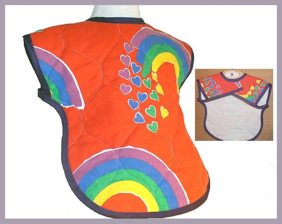 Best Design Full Coverage XL Toddler Bib Rainbow Baby Shower Gift Quilted Cotton Retro Unisex Rainbow Toddler Gift Hearts Red Bib Arm Holes