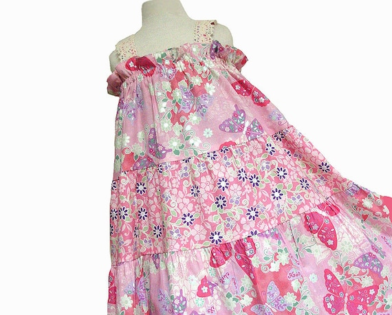 Girls Butterfly Tiered Cotton Sundress Baby Toddler Pink Dress Girl Infant size 6m 12m 18m 2T 3T 4T 5 6 7 8 Custom Boutique Girl Clothing