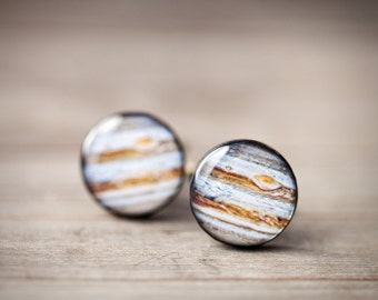 Jupiter Cufflinks - Space Cufflinks - Planet Cufflinks - Brown Cufflinks - Fathers Day gift (C032)