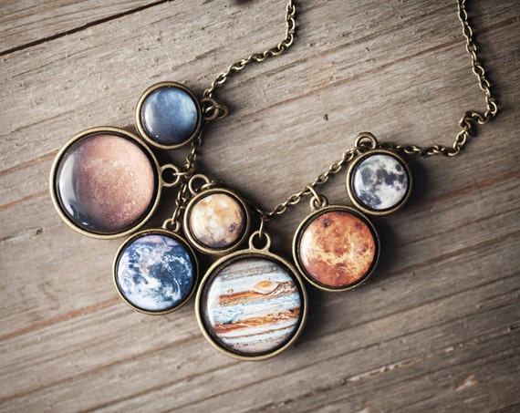 Solar System necklace - Space jewelry - Statement necklace - Planet Necklace (BN022)