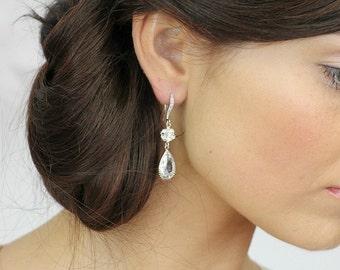 Wedding Earrings, Swarovski Crystal Earrings, Bridal Crystal Earrings, Teardrop Bridal Earrings, Wedding Jewelry