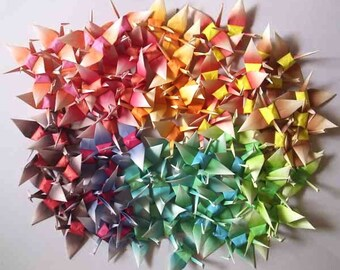 100 Small Origami Cranes Paper Crane Origami Paper Cranes - Made of 7.5cm 3 inches Japanese Paper - Harmony B