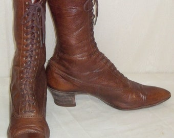 Antique Steampunk Victorian Edwardian Leather Granny Boots 8