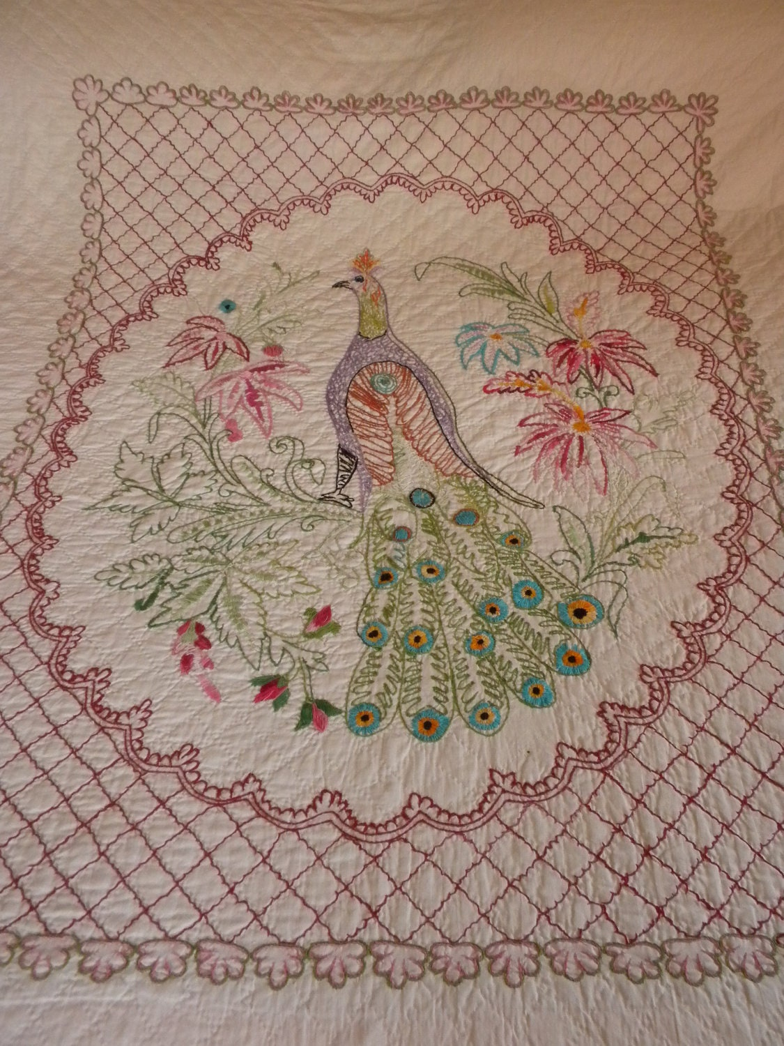 Vintage Quilt Coverlet Peacock All Hand Embroidered Hand