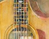 Taylor Acoustic Guitar -  Watercolor Art Print - Size  8.5 x 11
