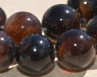 16 Red Tigereye 12mm Round Beads T111