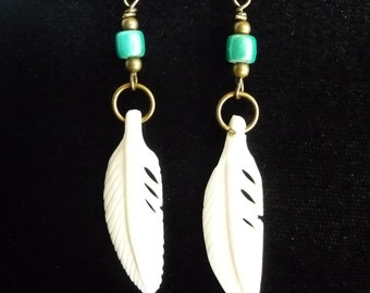 Bone Feather and Antiqued Brass Earrings