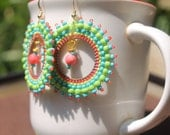 Reduced Was 25 Capitola - Beadwoven Hoop Earrings