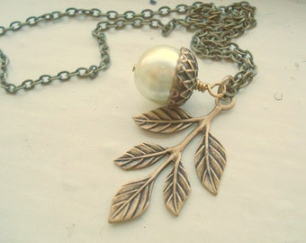 Pearl Acorn Necklace Brass Acorn Necklace Acorn and Leaf Necklace Acorn Jewelry Bridesmaid Necklace Acorn Jewelry