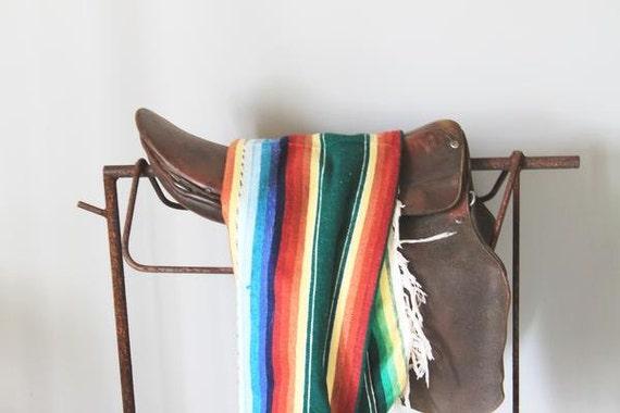 vintage Southwestern navajo saddle blanket / striped Serape /