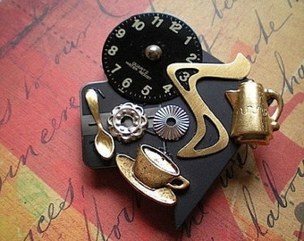 Time for a break - mixed media brooch pin