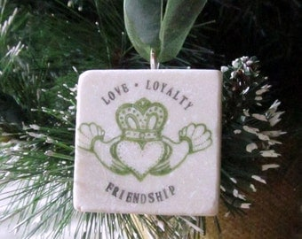 Claddagh Christmas Ornament - Irish Holiday Tree Decoration - Celtic Friendship Gift