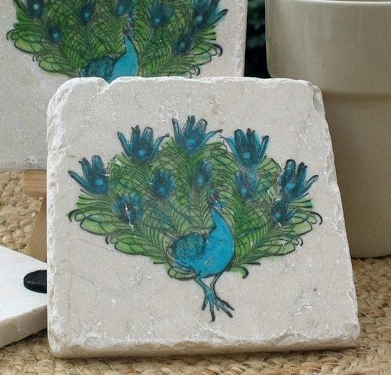 Peacock Coasters - Housewarming Gift - Set of 4 - Ready to Ship