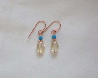 Oval Citrine and Turquoise Earrings on Copper