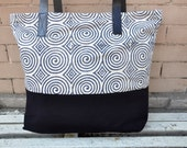 Tote Bag with leather straps in Navy geometric print & black bottom - Leather, Beach Bag, Shoulder Bag, Large Tote, Diaper Bag