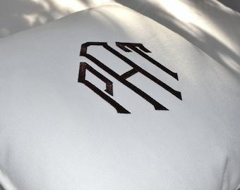 monogram embroidered pillow - linen - cotton twill - sunbrella