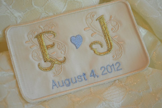 Custom Embroidered Wedding Dress Label French Silk Satin and Gold Thread