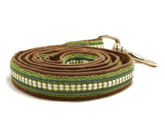 ON SALE - Spring Field / Green and brown dog leash - Extra strong pet lead - 25% sale - Coffee with milk dog lead - Green ribbon pet leash